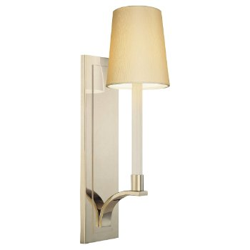 Shown in White shade, Polished Nickel finish
