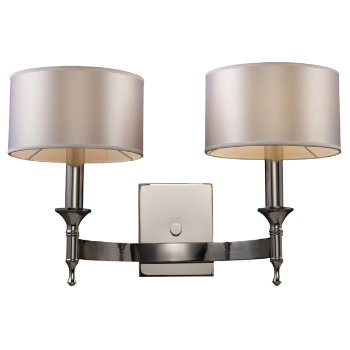 Shown in Polished Nickel finish with Light Silver shade
