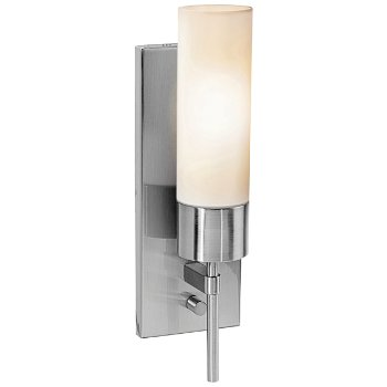 Shown in Brushed Steel finish, Opsl Glass, lit