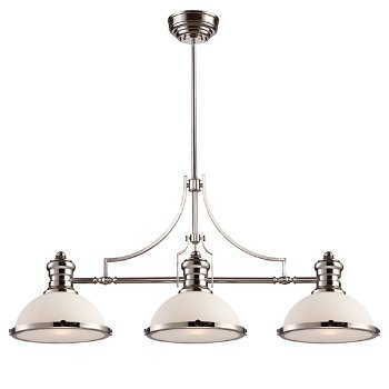 Shown in Polished Nickel with Gloss White Shade finish