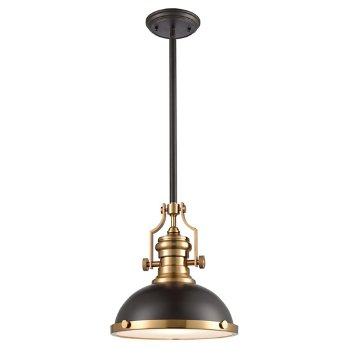 Shown in Oil Rubbed Bronze with Satin Brass finish, Small size