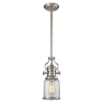 Shown in Polished Nickel with Seedy Glass finish, lit
