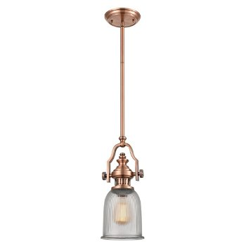 Shown in Antique Copper with Clear Ribbed Glass finish, lit