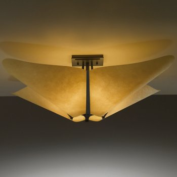 Shown in Dark Amber finish, Spun Frost shade, Large size