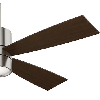 Shown in Brushed Nickel finish with Burnt Walnut blades