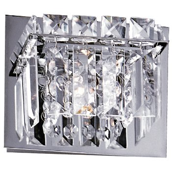 Shown in Polished Chrome finish, Crystal glass