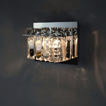 Shown in Polished Chrome finish, Crystal glass, lit, in use