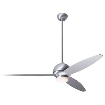 Shown in Brushed Aluminum finish with Aluminum blades, LED light
