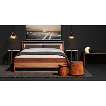 Woodrow Bed with Turn Low Side Table, Turn Stool, Trace 4 Pendant Light and Free Range Side Table