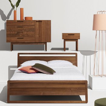 Woodrow Bed with Shale Bedside Table and Shale 2 Drawer/2 Door Dresser and Perimeter Floor Lamp