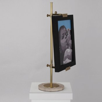 Shown in Antique Brass with Honed Travertine shade