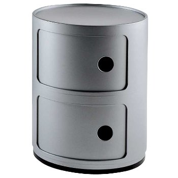 Componibili Round Storage Modules (Silver/2 Hi) - OPEN BOX RETURN