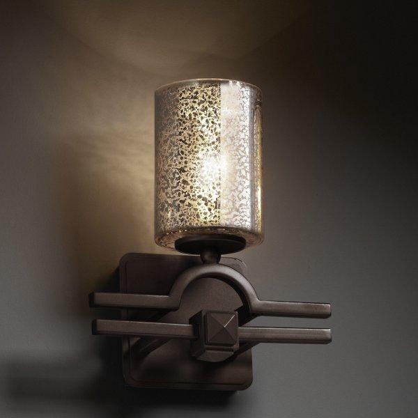 Fusion Mercury Glass Argyle Cylinder Wall Sconce