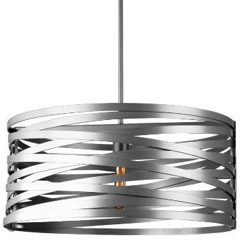 Shown in None, Exposed Lamping shade, Metallic Beige Silver finish