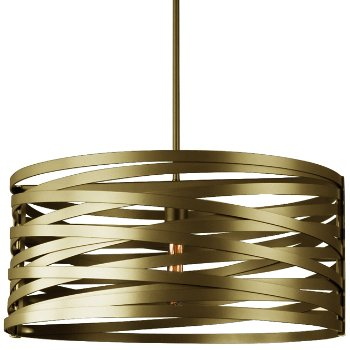 Shown in None, Exposed Lamping shade, Gilded Brass finish