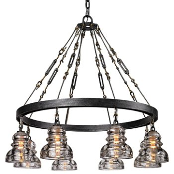 Shown in Old Silver finish, 8 Light