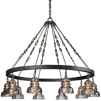 Shown in Old Silver finish, 10 Light