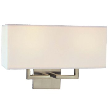 Fabric Wide Wall Sconce (Brushed Nickel/White) - OPEN BOX
