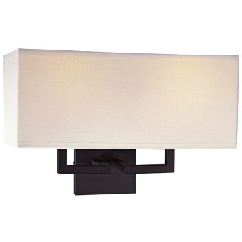 Fabric Wide Wall Sconce (Off-White/Bronze) - OPEN BOX RETURN
