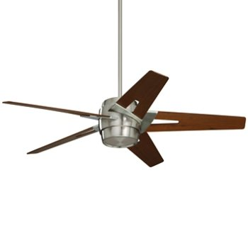 Shown in Brushed Steel finish with Walnut blades and light cap
