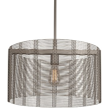 Shown in None, Exposed Lamping, Metallic Beige Silver finish, 19 inch