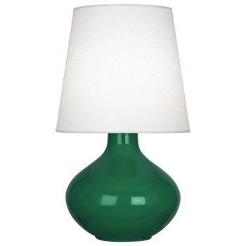 Shown in Emerald finish, Oyster Linen shade