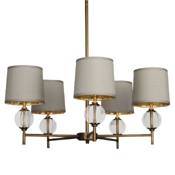 Shown in Aged Brass and Gold with Oyster Grey shade finish