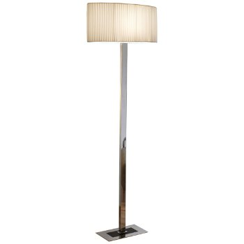 Shown in Chrome with Black Glass finish, Cream Ribbon shade