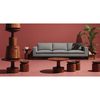 Turn Tall Side Table with Turn Coffee Table, Turn Stool, Turn Low Side Table and New Standard Sofa