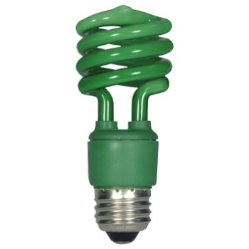 13W 120V T2 E26 Mini Spiral CFL Green