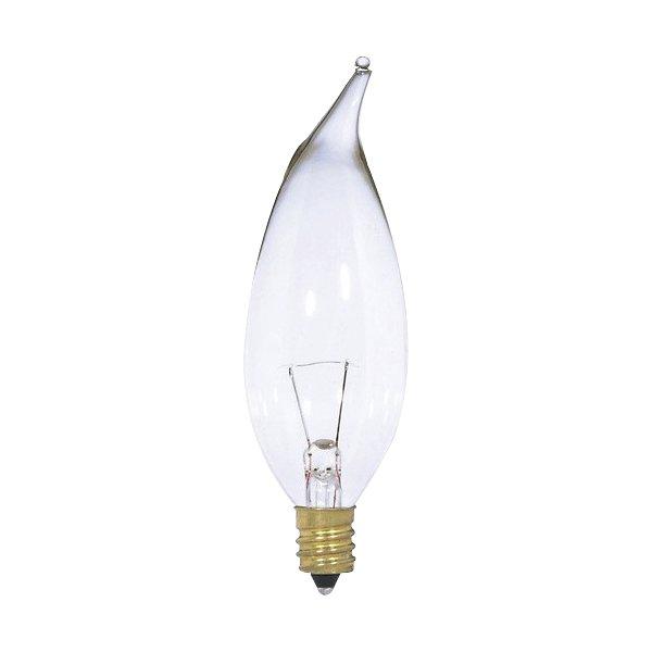7W 12V CA10 E12 Flame Tip Clear Bulb