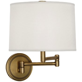 Shown in Antique Brass with Open Weave White shade