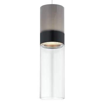 Shown in Smoke Top shade with Clear Bottom shade, Black with Satin Nickel finish