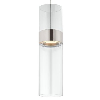 Shown in Clear Top shade with Clear Bottom shade, Satin Nickel with Satin Nickel finish