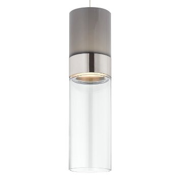 Shown in Smoke Top shade with Clear Bottom shade, Satin Nickel with Satin Nickel finish