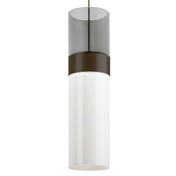 Shown in Transparent Smoke Top shade with White Bottom shade, Antique Bronze with Antique Bronze finish