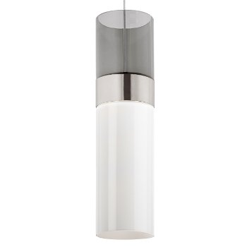 Shown in Transparent Smoke Top shade with White Bottom shade, Satin Nickel with Satin Nickel finish