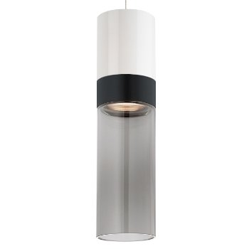 Shown in White Top shade with Transparent Smoke Bottom shade, Black with Satin Nickel finish