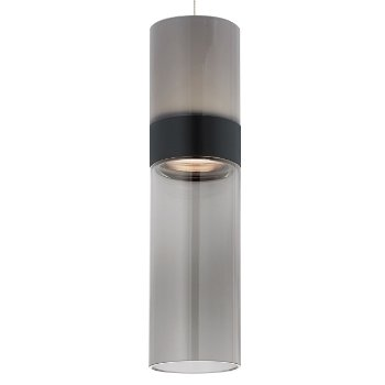 Shown in Smoke Top shade with Transparent Smoke Bottom shade, Black with Satin Nickel finish