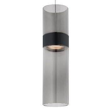 Shown in Transparent Smoke Top shade with Transparent Smoke Bottom shade, Black with Satin Nickel finish