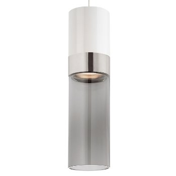 Shown in White Top shade with Transparent Smoke Bottom shade, Satin Nickel with Satin Nickel finish