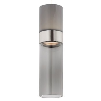 Shown in Smoke Top shade with Transparent Smoke Bottom shade, Satin Nickel with Satin Nickel finish