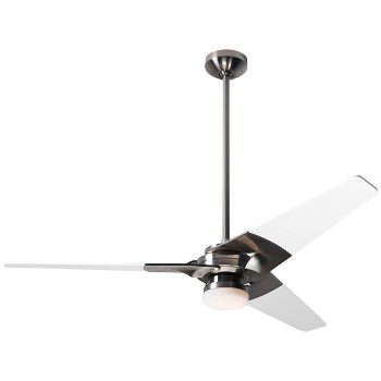 Shown in Bright Nickel finish with White blade finish, 52 inch, LED