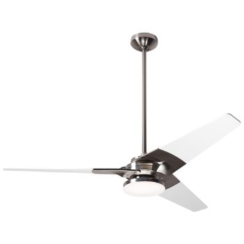 Shown in Bright Nickel finish with White blade finish, 52 inch, Hi Output LED
