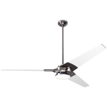 Shown in Bright Nickel finish with White blade finish, 62 inch, Hi Output LED