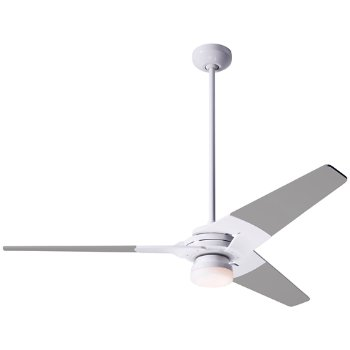 Shown in Gloss White finish with Nickel blade finish, 52 inch, LED