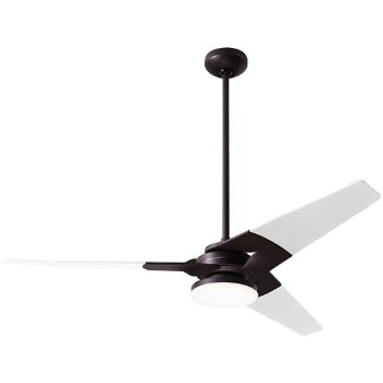 Shown in Dark Bronze finish with White blade finish, 52 inch, Hi Output LED