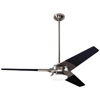 Shown in Bright Nickel finish with Black blade finish, 52 inch, Hi Output LED