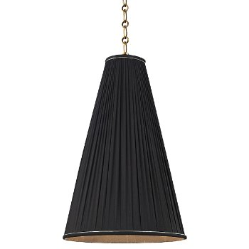 Shown in Black shade, Aged Brass finish, Small size