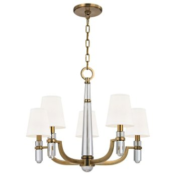 Shown in Aged Brass finish, White shade, 5 light